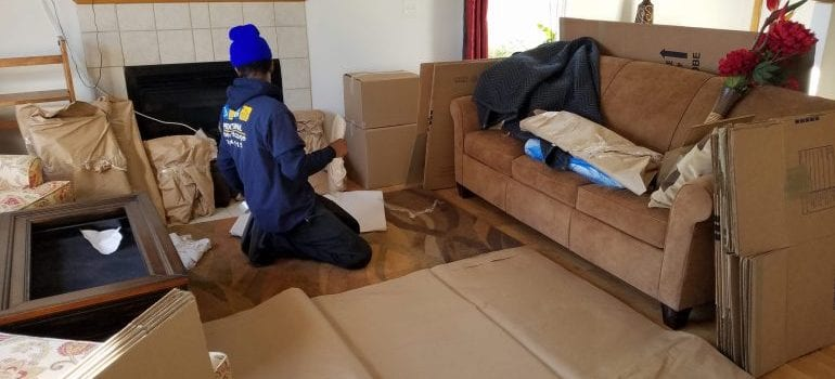 a  man packing things