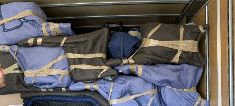 packed items in a truck