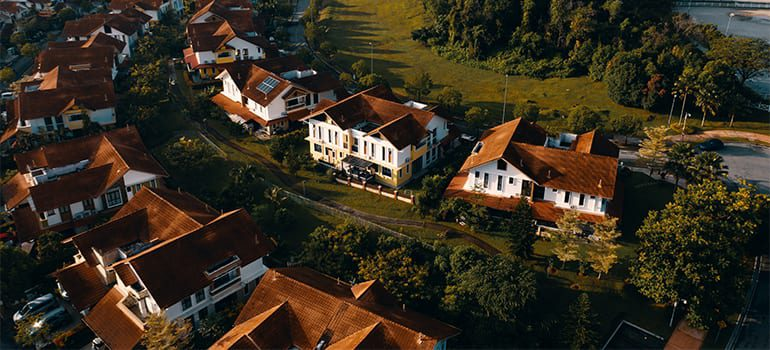 An aerial view of a nice looking neighborhood