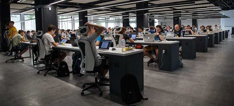 An office full of people working