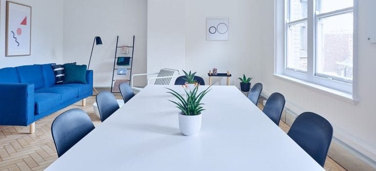 A conference room in an office.