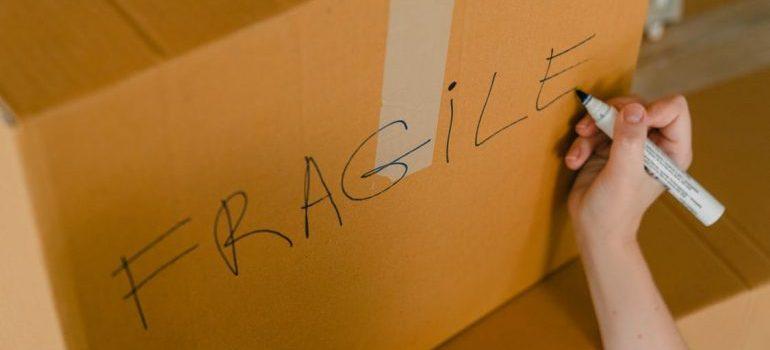 cardboard box labeled fragile